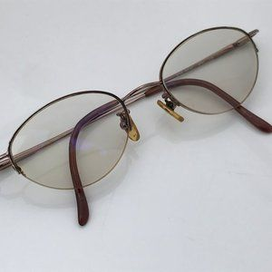 Nine West Women Eyeglasses Frame Brown Metal Half
